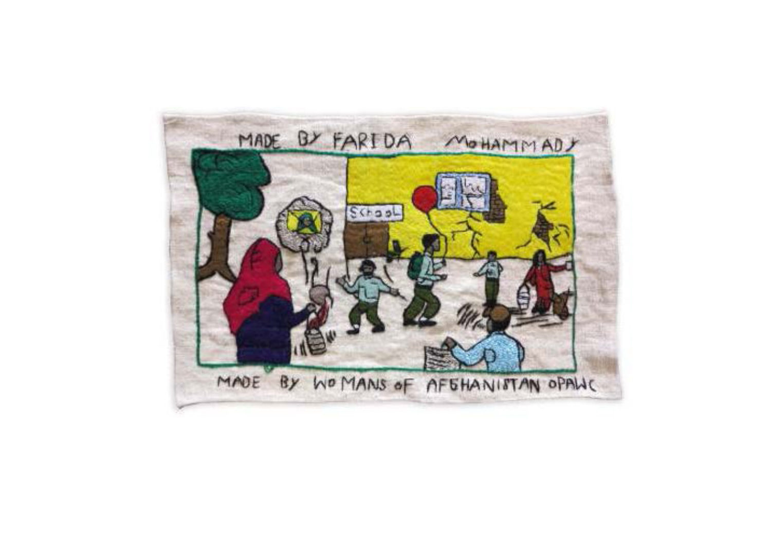 Farida draws the image of a street girl watching at the boys' school. She said boys are lucky here, they have chance to go to school without any fear, even if their school is destroyed. She hopes that girls find the same chance.