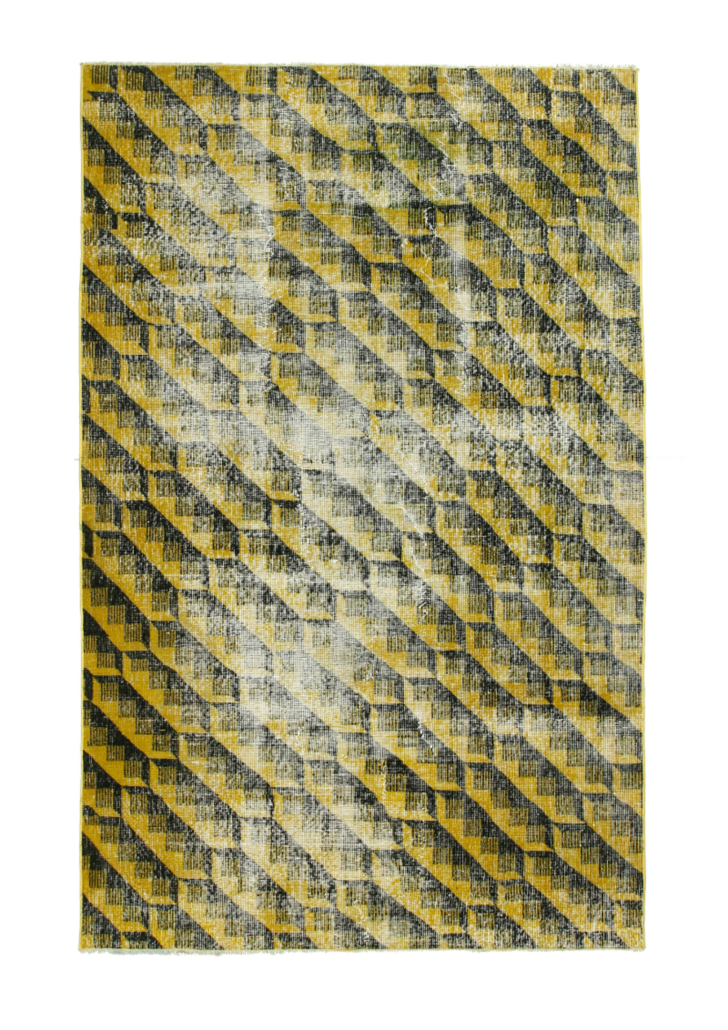 Vintage Over Dyed Patterned Yellow - 5264
