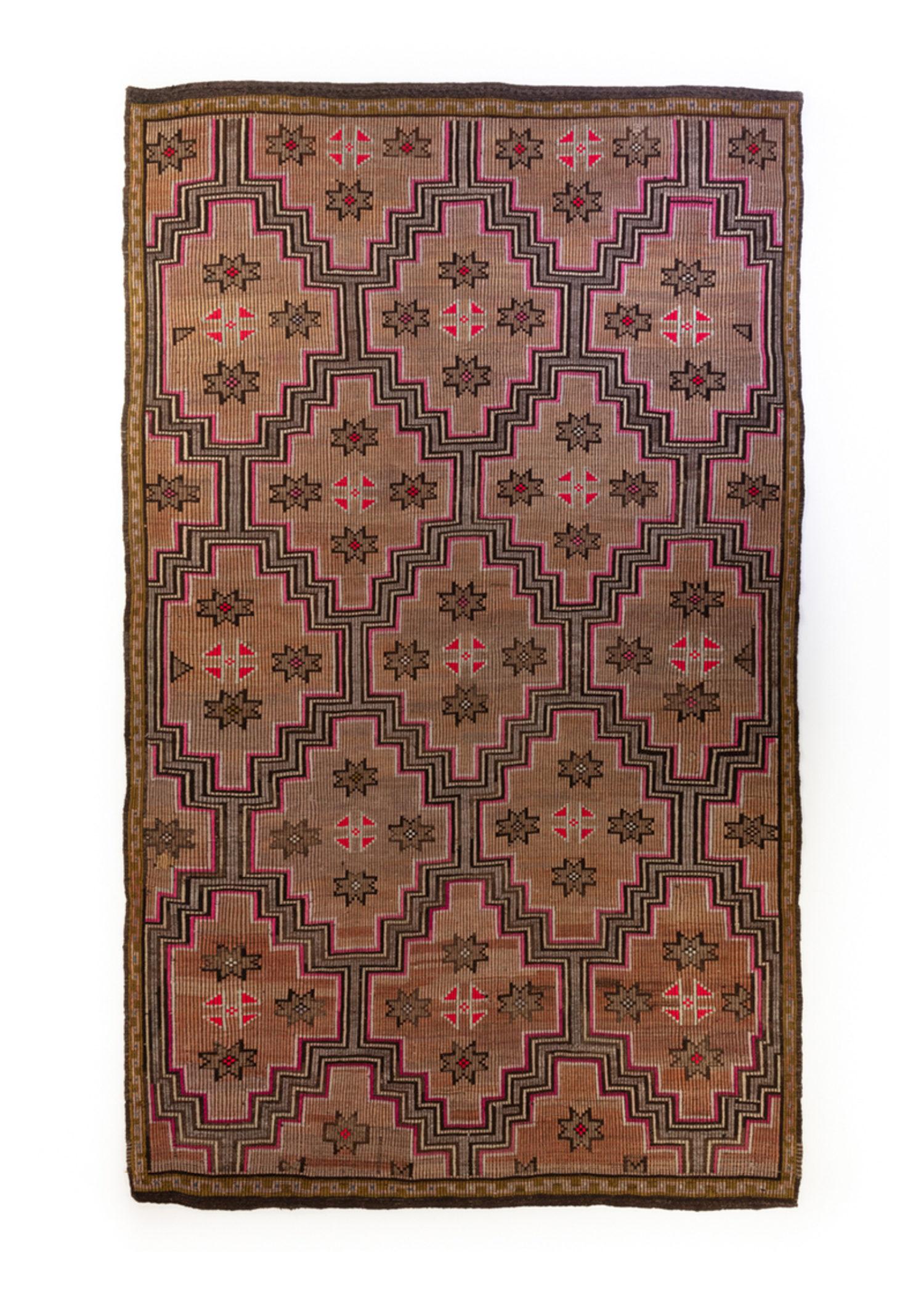 Vintage Brown Pink Stars 55067