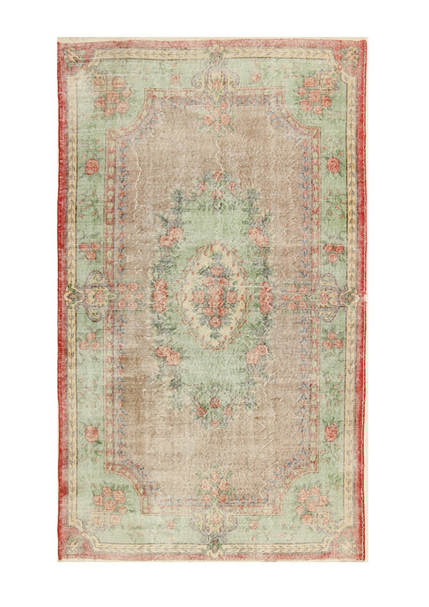 Vintage Red and Green Flowers 5568