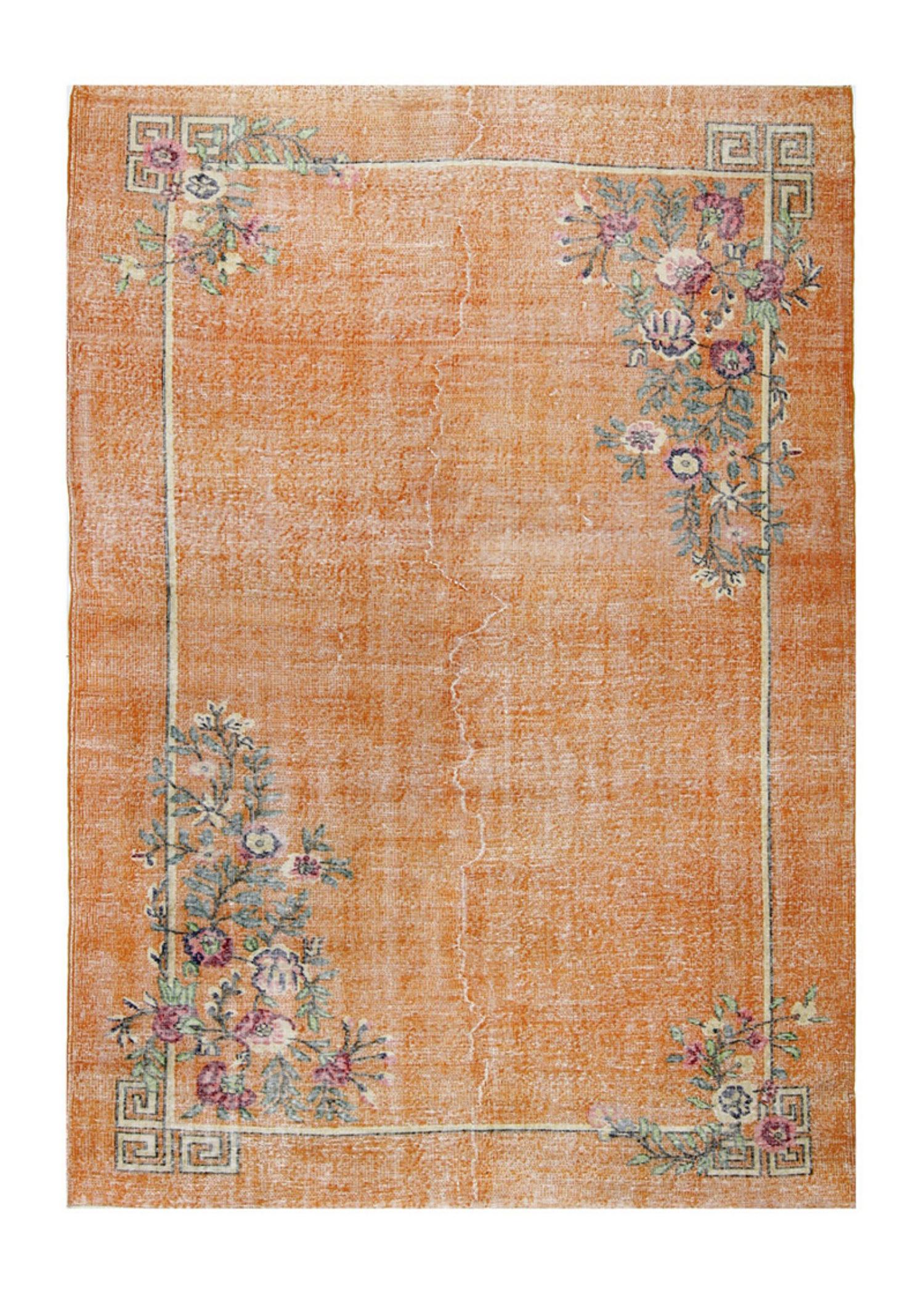 Vintage Overdyed Orange Floral 6540