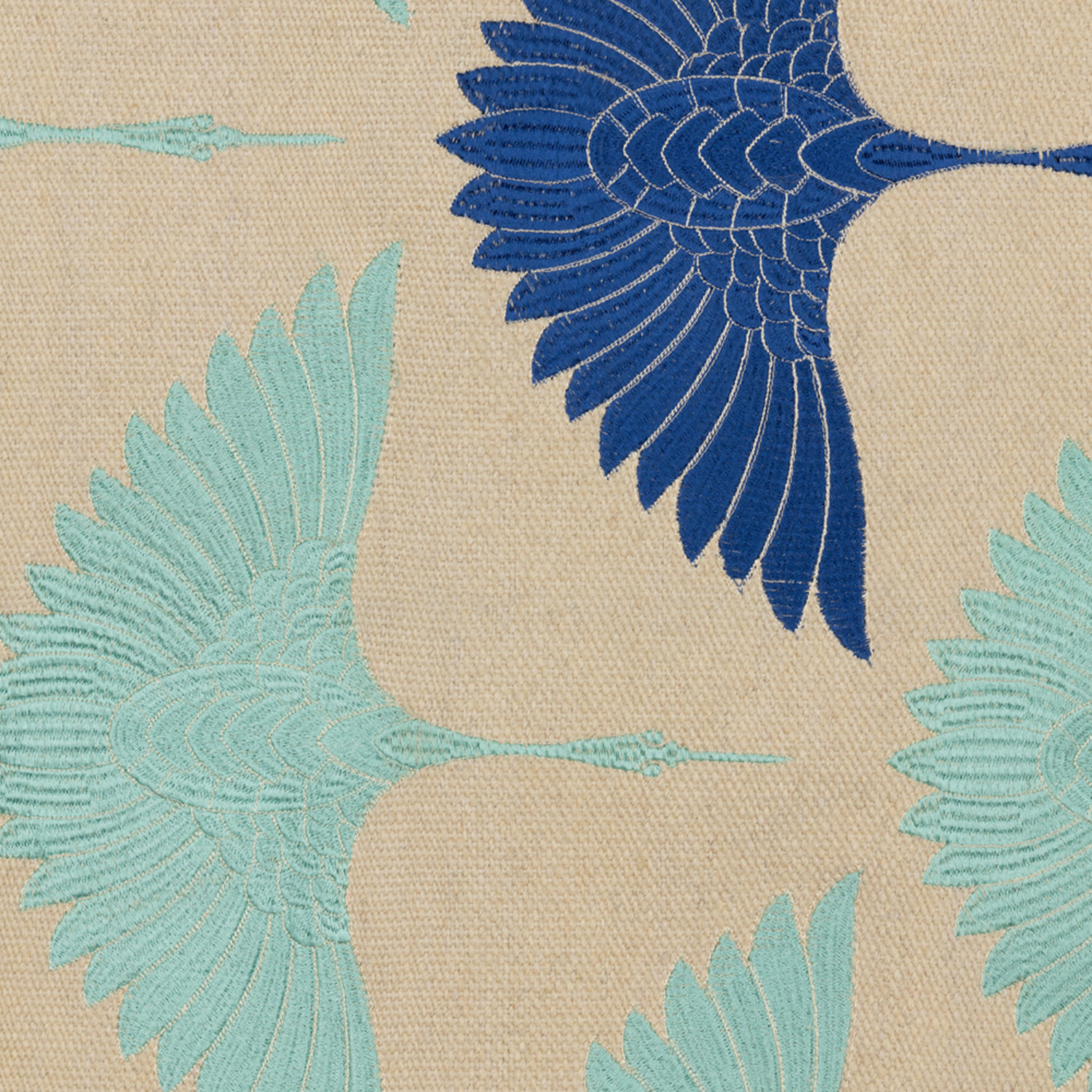 Stunning hand woven rug embroidered with colourful viscose birds.