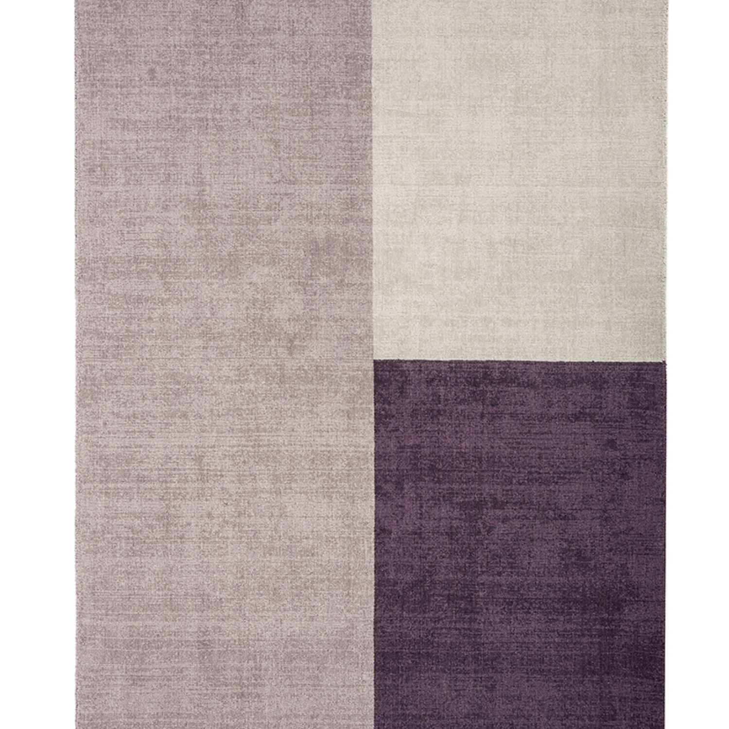 Hand woven wool rug in bold blocks of colours.
