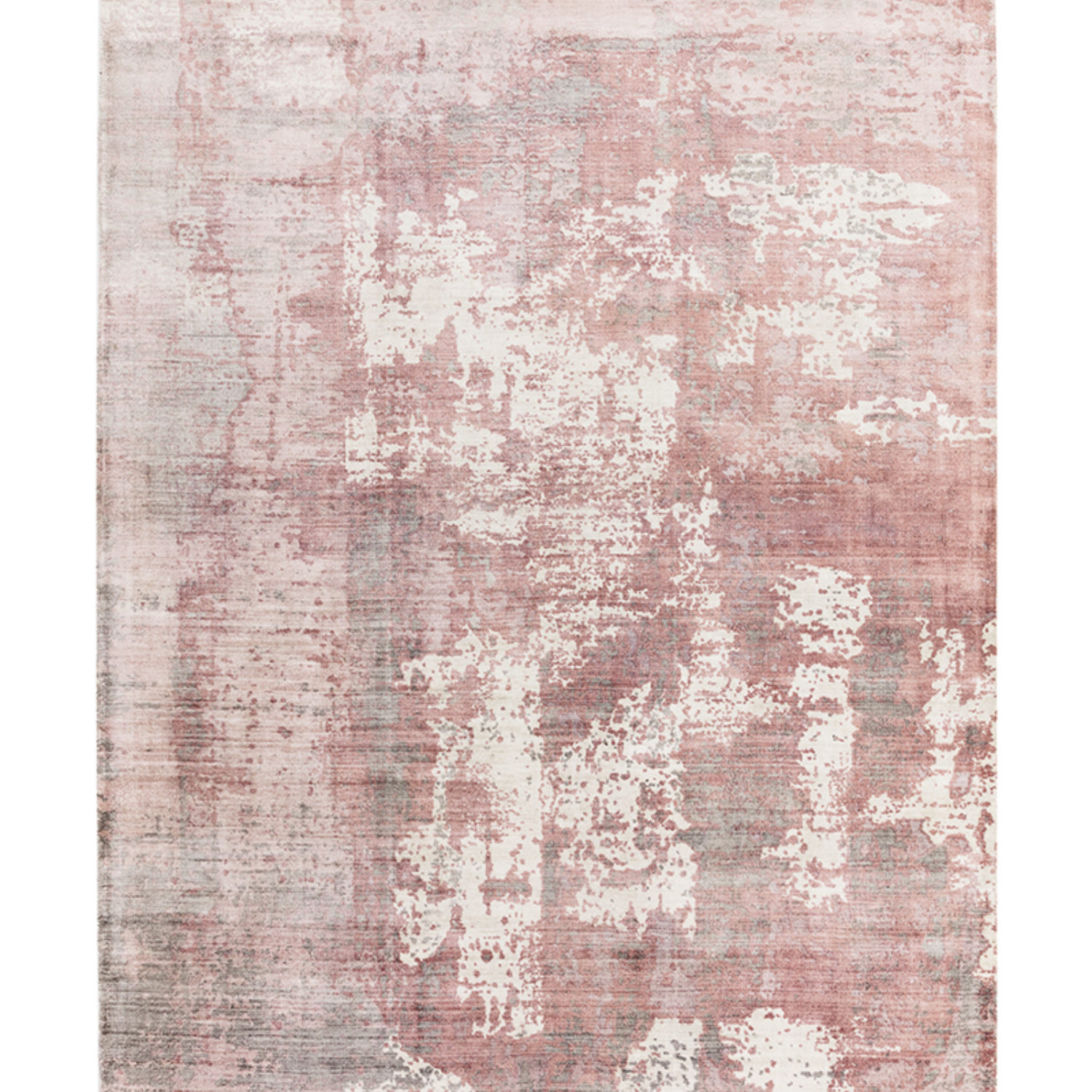 Tip sheared viscose rug with a screen printed abstract design