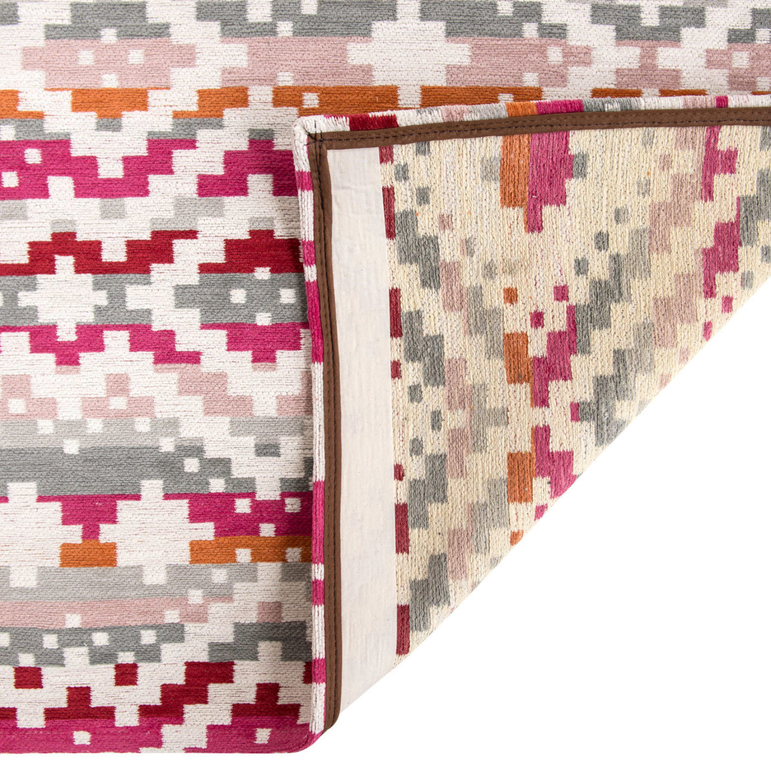 A colurful geometric design with a tactile weave.