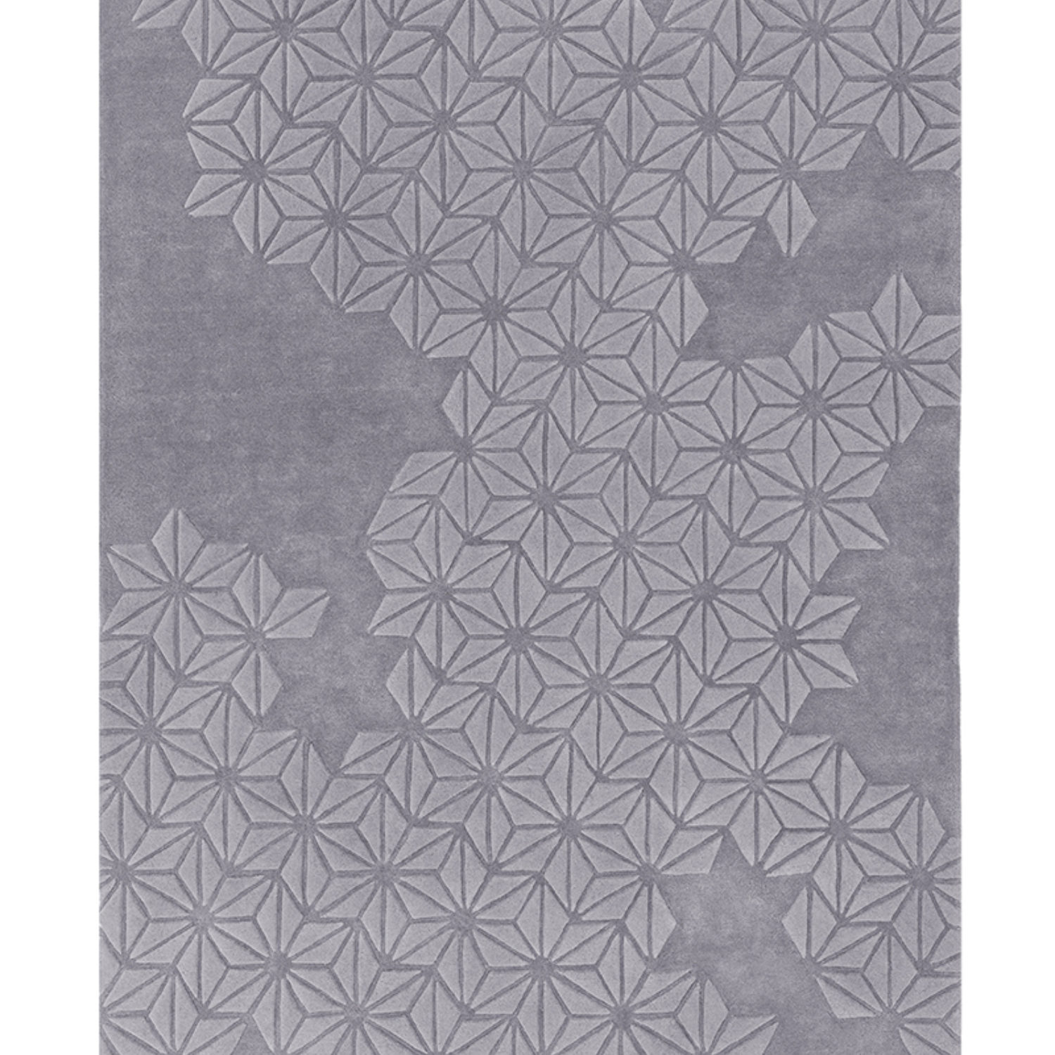 Hand tufted extra thick wool-rich rug with a hand carved star patterned