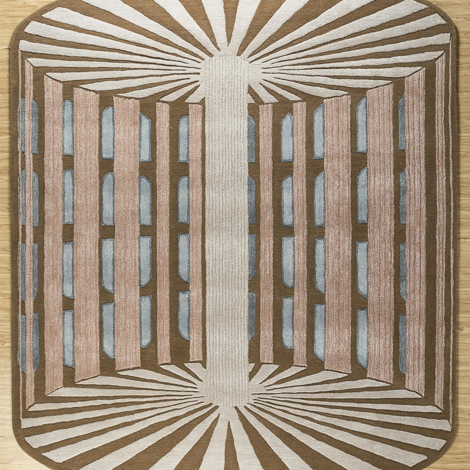 The rug brings alive the architectonical Sundial, the Jantar Mantra, built in the 18th Century.