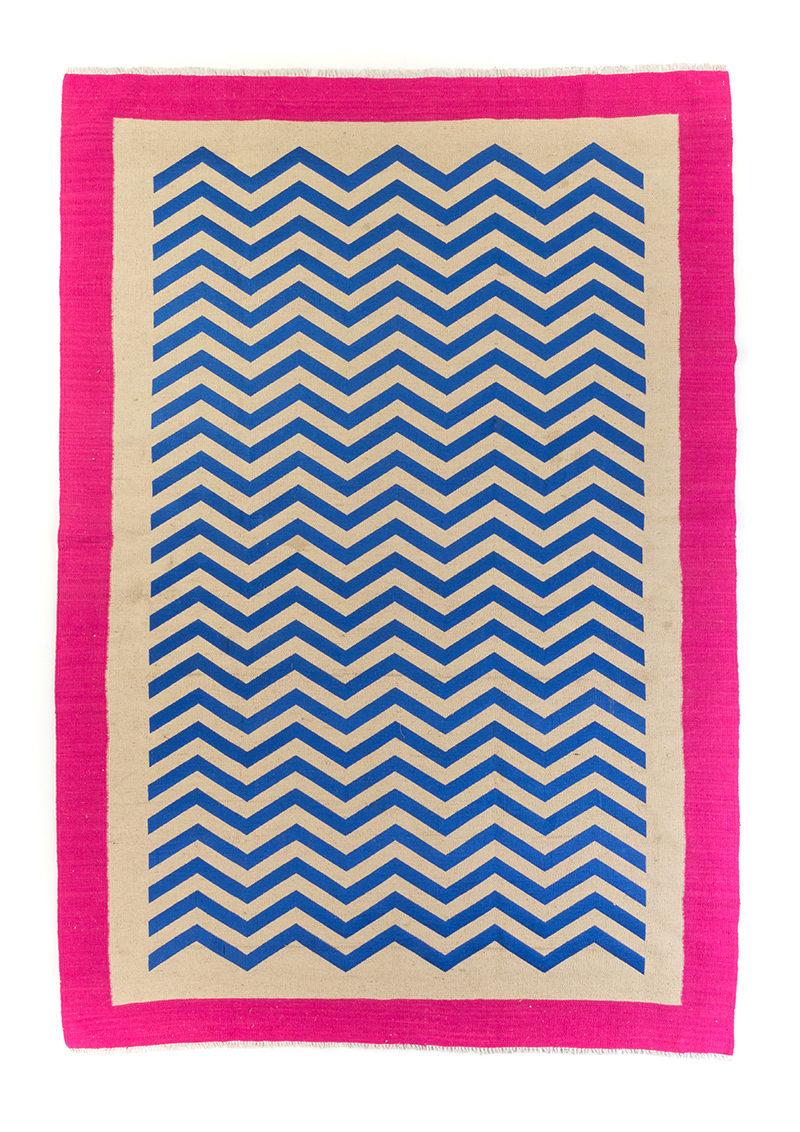 Chevron Pink Border - Royal Blue